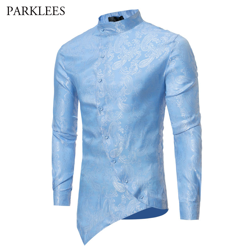4f20eaf6073 Mens Hipster Silk Paisley Floral Slim Fit Dress Shirts 2018 Brand Golden  Foil Print Irregular Design Long Sleeve Chemise Homme-in Casual Shirts from  Men s ...