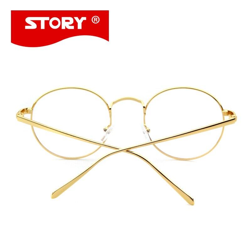 HISTORIA Coreana Oro Gafas Gafas Retro Marco Borde Completo Marco de ...