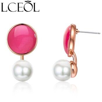Marca LCEOL, pendiente de albúmina para mujer, joyería de moda, Color plata, Perla simulada, pendiente gancho oreja, Boucle DOreille Femme