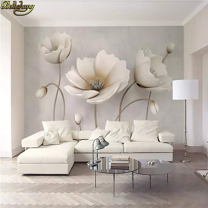Beibehang Custom 3d Mural Wallpaper Photo Wall Paper 3D Flower Marble Landscape Living Room Modern Decoration Home Flooring Roll