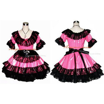 Sexy Sissy Maid Pvc Hot Pink Dress Uniform Cosplay Costume Tailor-made[G366]