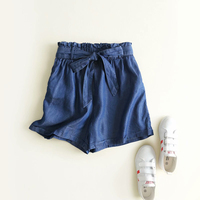summer women denim shorts sexy casual hot jeans shorts elastic waist lace up with belt bow pocket blue light blue loose beach
