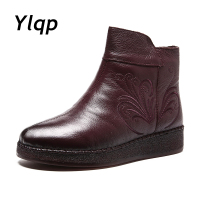 2018 Winter Soft Women Boots Booties Flat Shoes Embroidered Genuine Leather platform Boots Fashion Women Shoes Fur Ankle Boots