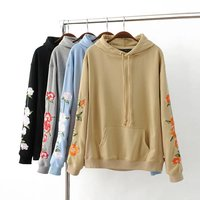 Autumn Winter Women Embroidery Flowers Hooeded Sweatshirt American Apparel Long Sleeved Pullover Fashion High Quality Hoodies