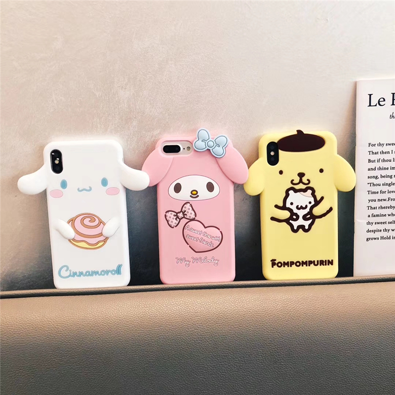 Cute Cartoon 3D Pom Purin Cinnamoroll Dog My Melody  Phone Case for iPhone 6 6s 7 8 Plus X XR XS Max Soft Silicone Rubber Cover