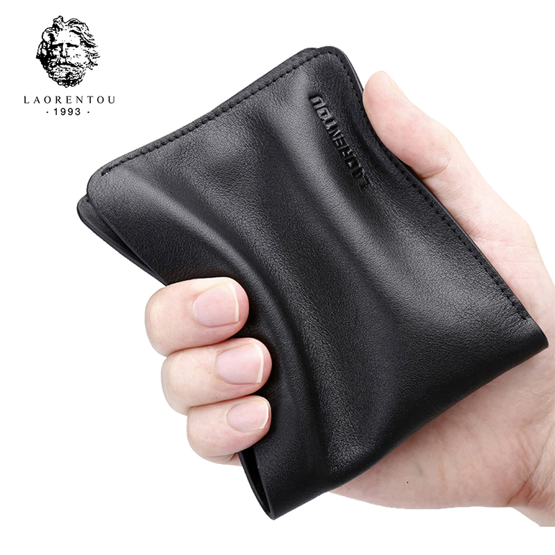 LAORENTOU Men Wallets Soft Leather Short Wallet Cow Leather Purse Casual Male Standard Wallets Thin Wallet for Men new 2017 men wallet women leather wallets purses creative contracted thin students short wallet purse