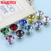 NAIERDI 30mm Crystal Knobs Cabinet and Handles Diamond Shape Kitchen Cupboard Drawer Furniture Handle