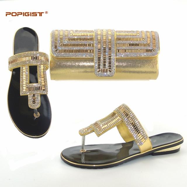 2017 da cor do ouro Africano Mulheres saco com Chinelos Sapatos flip flops Sapatos italianos e saco conjunto de correspondência Do Partido Sapatos de Casamento new arrival