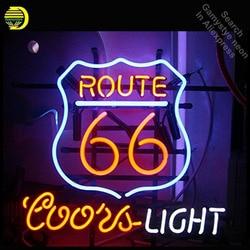 Neon Teken voor Route 66 Coors Light Neon Lamp teken handcraft Glazen buizen Versieren windows lichten gepersonaliseerde verlichte borden-in Neon Lampen & Buizen van Licht & verlichting op