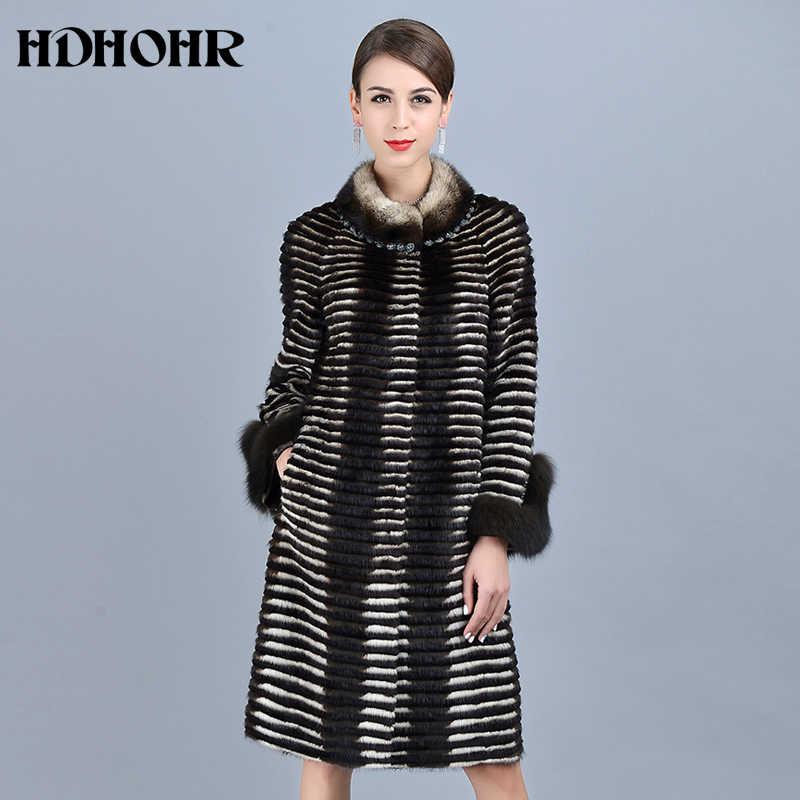 HDHOHR 2019 גבוהה באיכות נשים סרוג מינק פרווה מעילי פרוות שועל שרוול אופנה עבה טבעי מינק מעילי חורף חם פרווה הפארקרים
