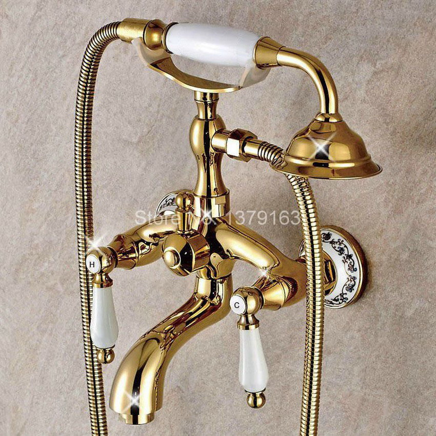 Gold Color Brass Ceramics Base Wall Mounted Clawfoot Bath Tub Faucet Mixer Tap Telephone Style Hand Held Shower Head Set atf414  for casio dt930 940 data hand held terminal base 986