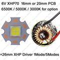Cree XHP70 6 V 6500 K branco fresco, 4500 K de branco, 3000 K branco quente de alta potência LED emissor de 26 mm 1 ou 5 modos de motorista