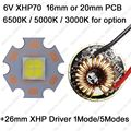 Cree XHP70 6V 6500K Cool White, 4500K Neutral White, 3000K Warm White High Power LED Emitter + 26mm 1 Mode or 5 Modes Driver