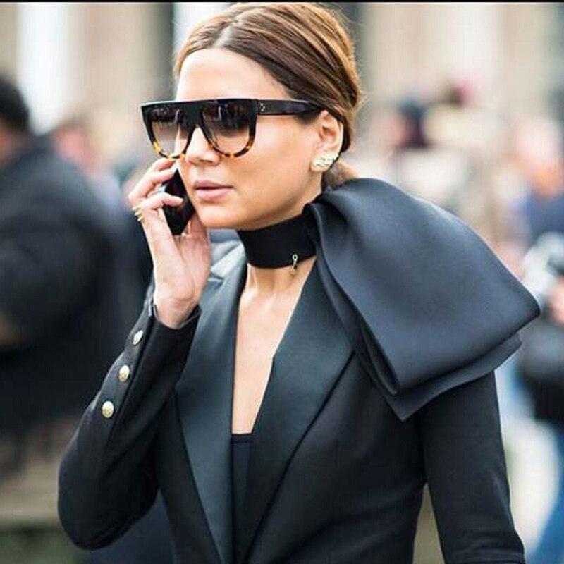 Flat top mirror sun glasses cat eye sunglasses women french brand design oculos de sol vintage