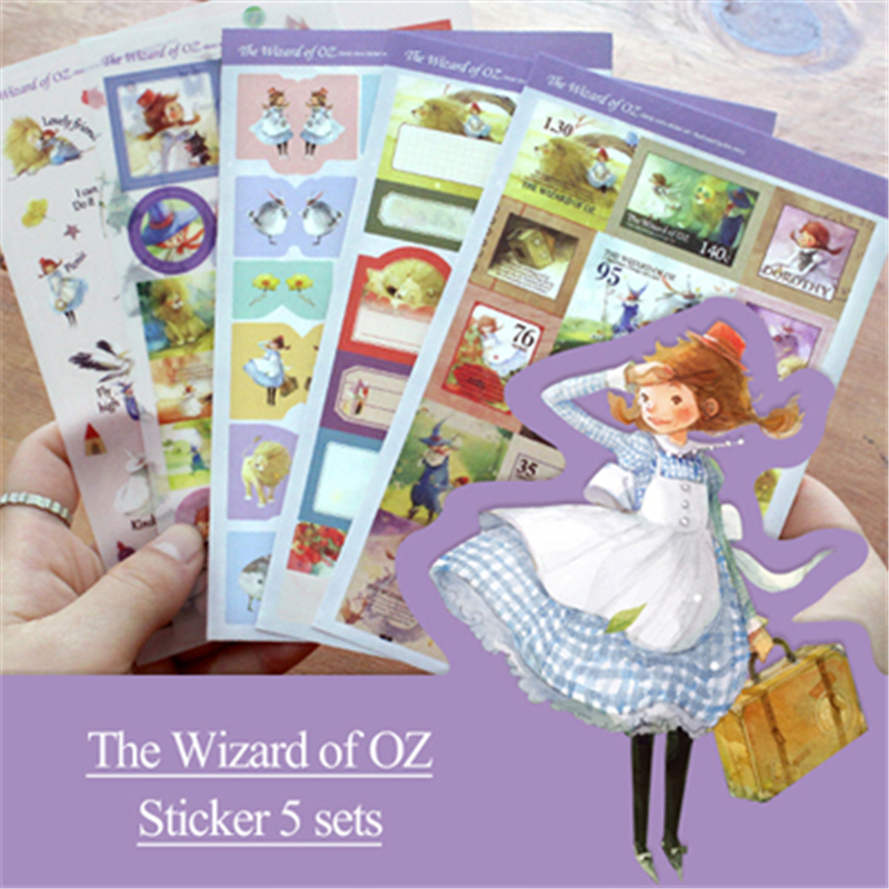 5 Pcs/Set New Kawaii Scrapbooking Stickers The Wizard Of Oz Decoration Ablum Photo Stick ...