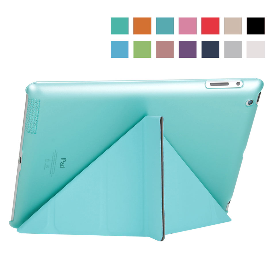 Multi-folded Tablets Case For iPad 234 Smart Protective Cover PU+PC Connection Translucent PC Hard Tablet Case For iPad 4 Case-3