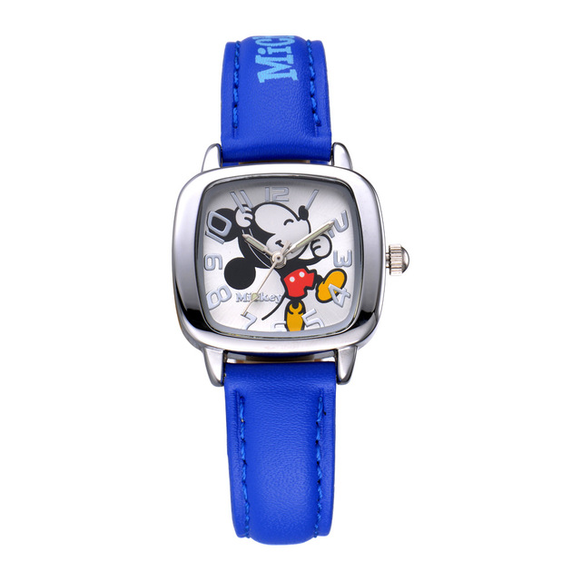 Children Watches Disney Brand Boys Girls Leather waterproof Mickey  luminous Square kids wristwatch relogio clocks