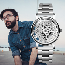 SOXY Relojes Hombre 2019 Men Watches Skeleton Top Brand Luxury Business Watches Men's Stainless Steel relogio masculino saat