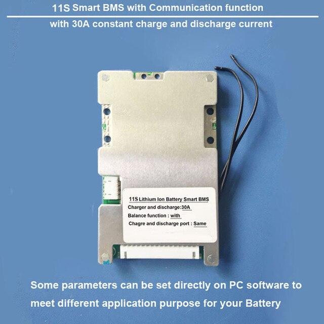 11 S de Proteção Inteligente de bateria de Iões de Lítio BMS e placa PCB com bluetooth e comunicação com o PC 30A de carga e descarga atual