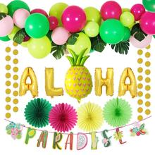29pcs Summer Tropical Party Decoration Aloha Gold Foil Balloons Latex Plam Leaves Fans Banner Hawaiian Luau