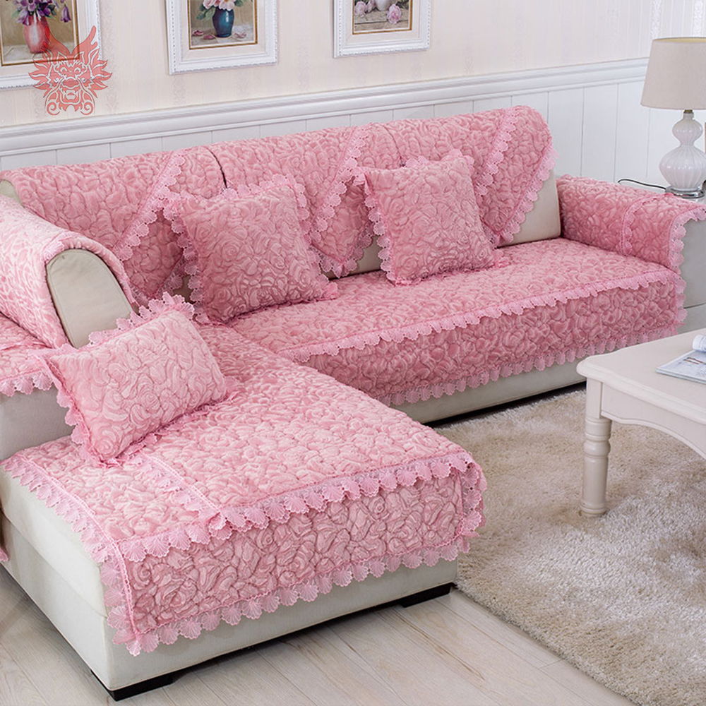 Modern rose floral quilted plush sofa cover fur sectional slipcovers canape furniture covers fundas de sofa sp3885 free shipping