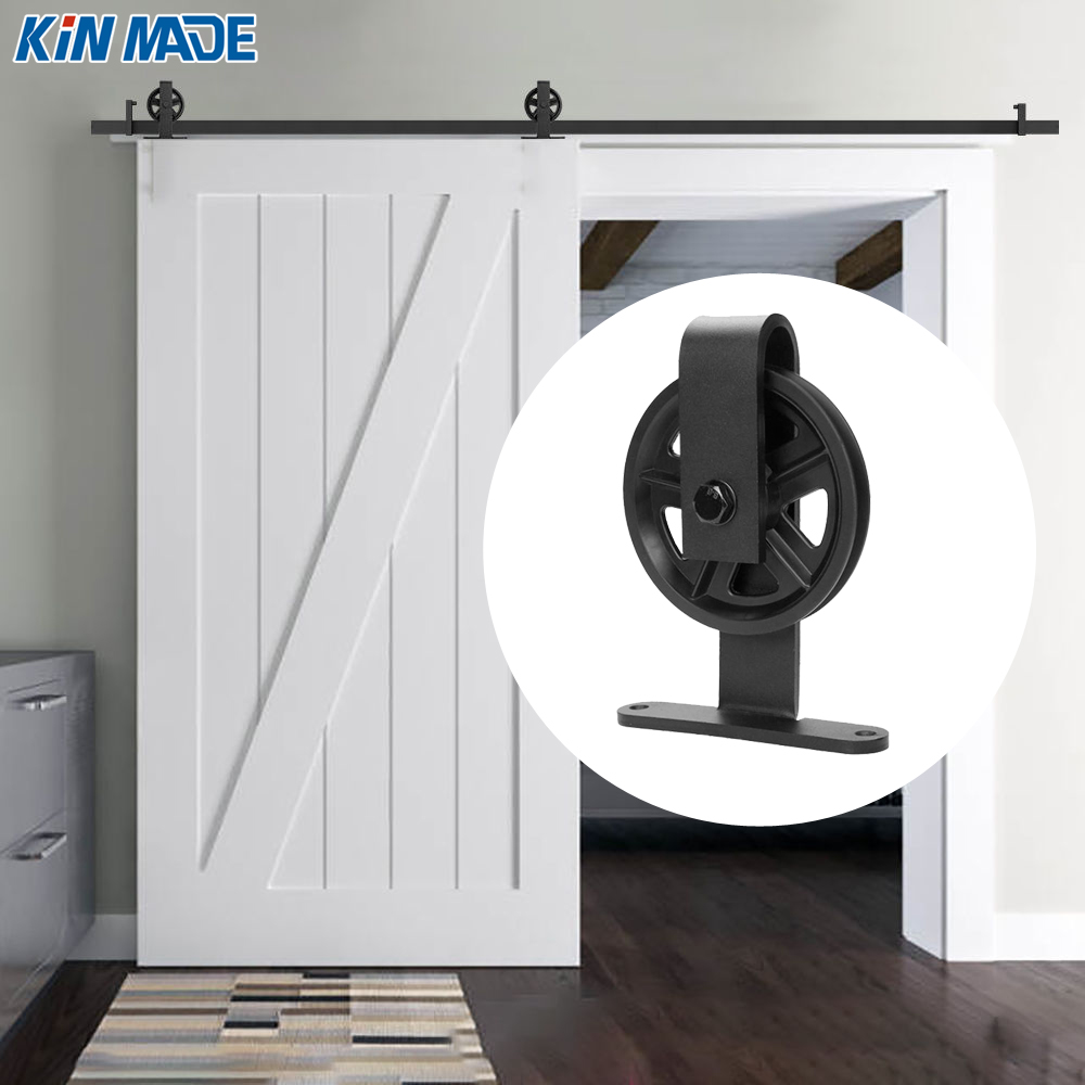 Kinmade Vintage style Big Spoke Wheels Sliding Barn Door Hardware Kit Top Mount