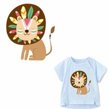 Cartoon Lion Patch Iron on Transfer Cute Animal Patches for Kids Clothing DIY T-shirt Applique Heat Vinyl Stickers