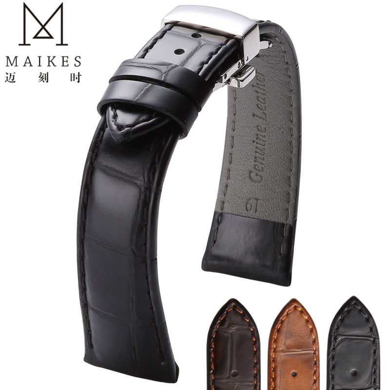 MAIKES 18mm 20mm 22mm Watch Belt Accessories Watchbands Black Genuine Leather Band Watch Strap Watches Bracelet Folding Buckle цена