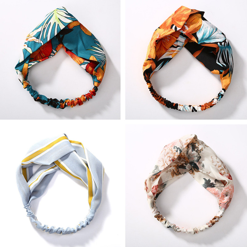 Turban Elastic Hair Accessories Wrap Plaid Knot Headband Hair band for Women Girls Striped   Headwear   Gift