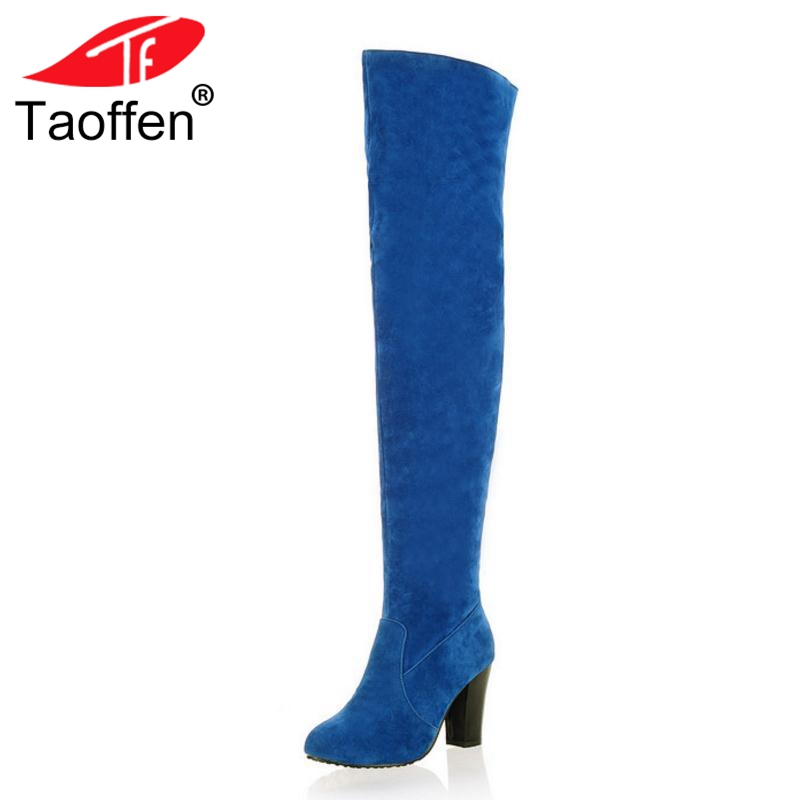 Taoffen Sexy Women High Heel Boots Solid Color Warm Shoes Women Round Toe Winter Thigh High Boots Fashion Shoes Size 34-43 sexy women s round neck ruffled solid color top