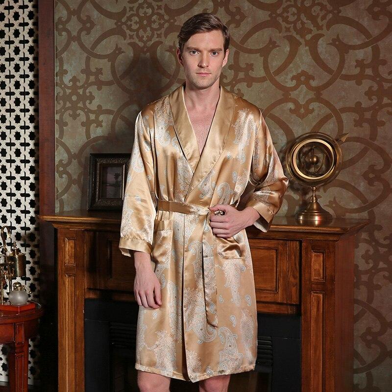 2017 New Male Silk Robe 100 Mulberry Silk Sleepwear Autumn Long Sleeve Robe Brand Bathrobes L