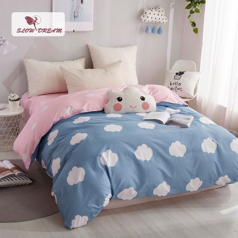 SlowDream Nordic Bedding Set Double Bed Linens Euro Duvet Cover Bedspread And Sheet Linen