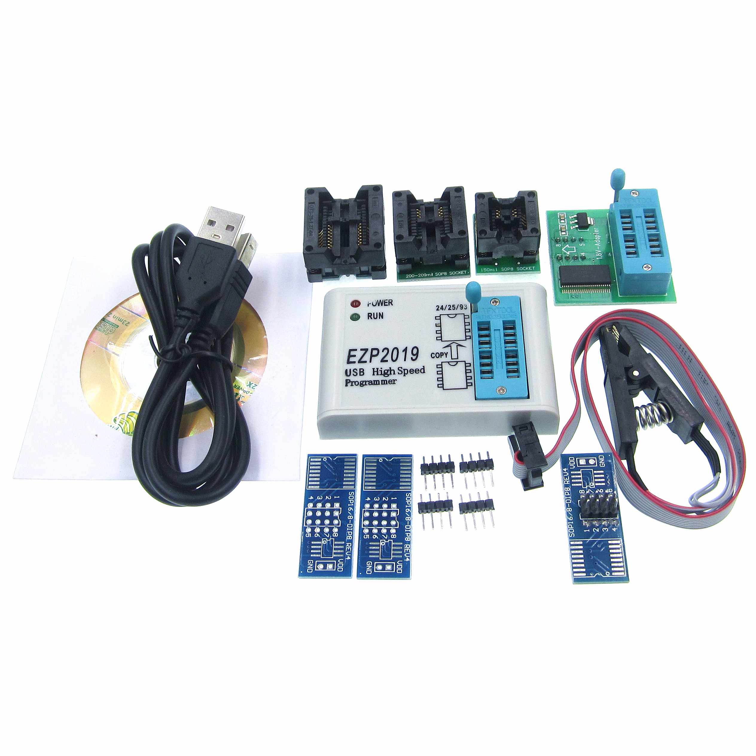 HOT EZP2019 high-speed USB SPI Programmer Better than EZP2010 EZP2013  support 32M Flash 24 25 93 EEPROM 25 flash bios WIN7 WIN8