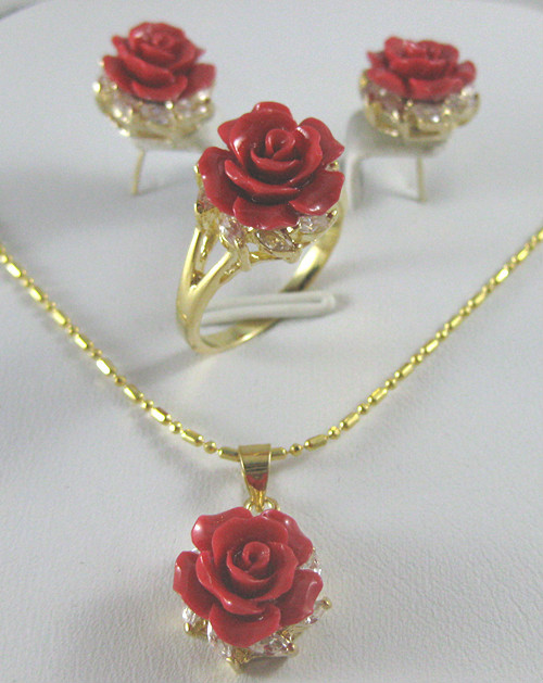 Ring Necklace Pendant Jewelry-Sets Rose-Series Wedding Women's Silver Exquisite
