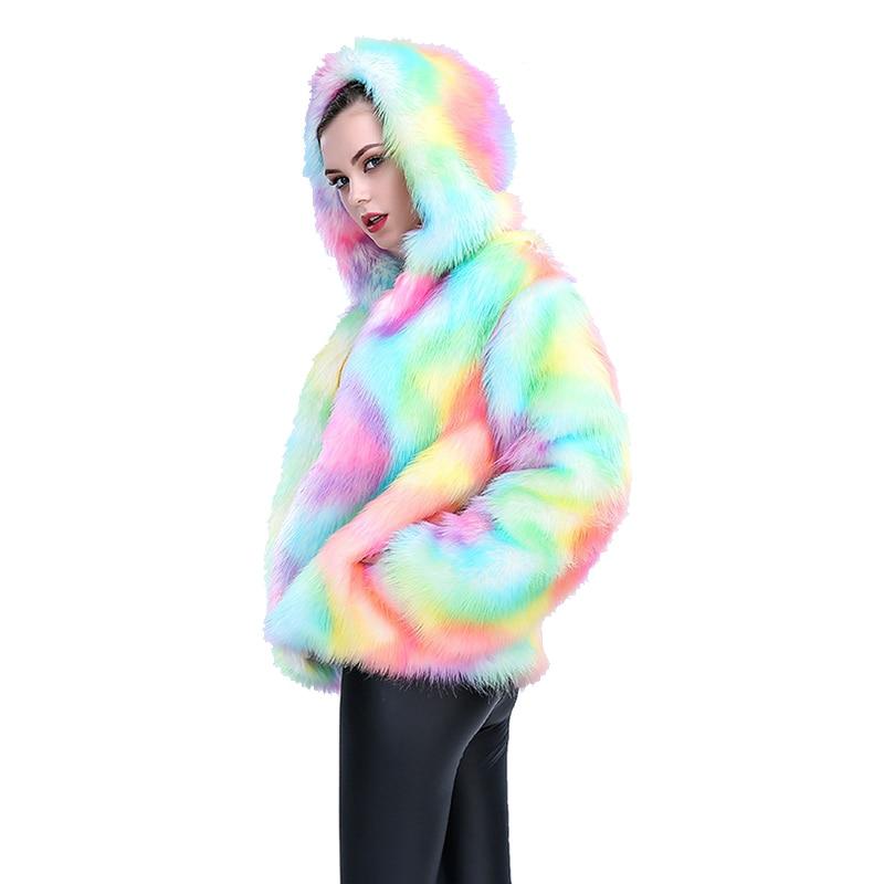 Renard Dame couleur Mode Femelle Veste Coloré Arc Capuchon Femmes Fourrure Progressive Imitation 2017 Ljls023 De en Manteau Couleur À Faux Colorful gfwIOSxqa