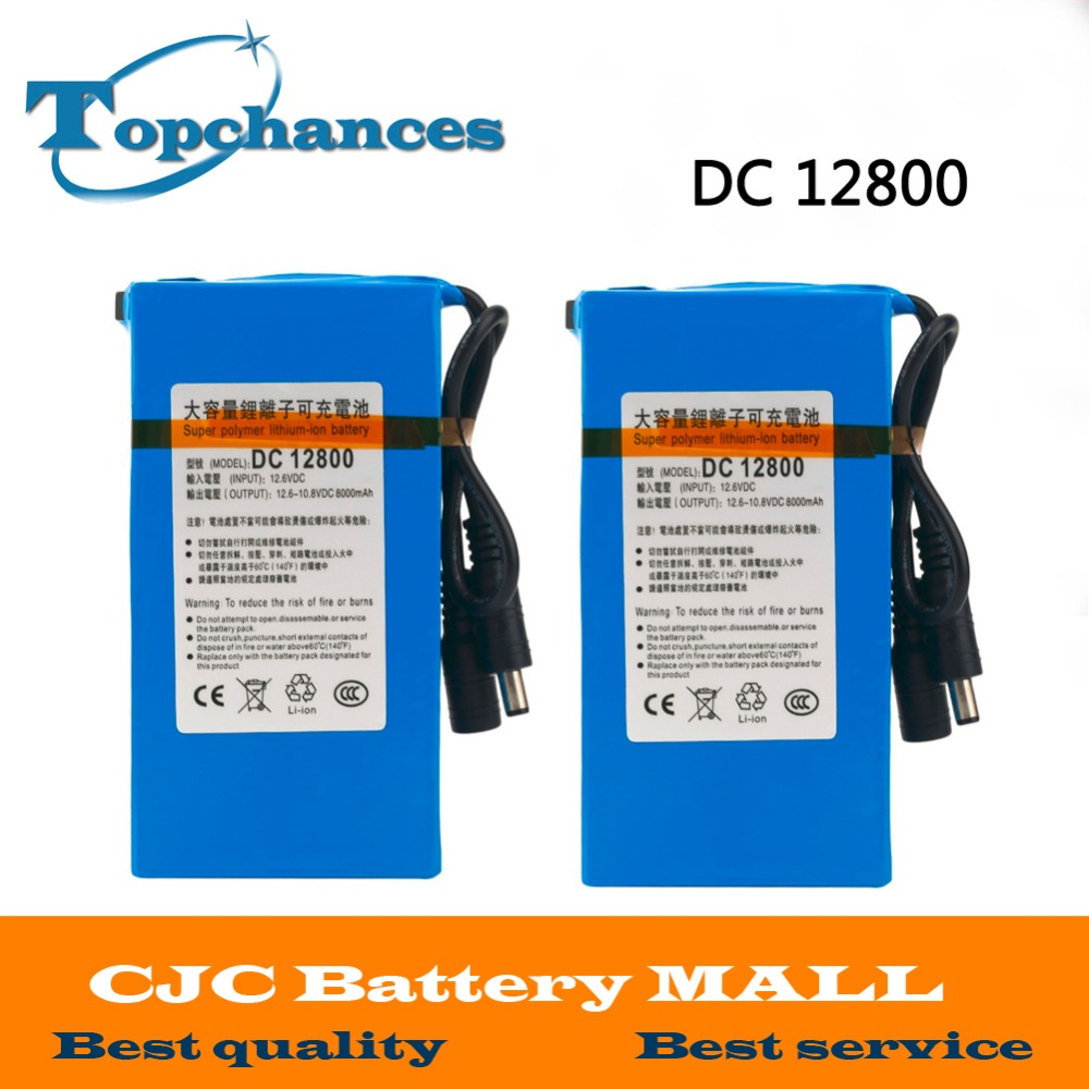 2X High Quality Newest Super Rechargeable Portable Lithium-ion Battery <font><b>DC</b></font> 12V 8000mAh DC12800 With Plug image