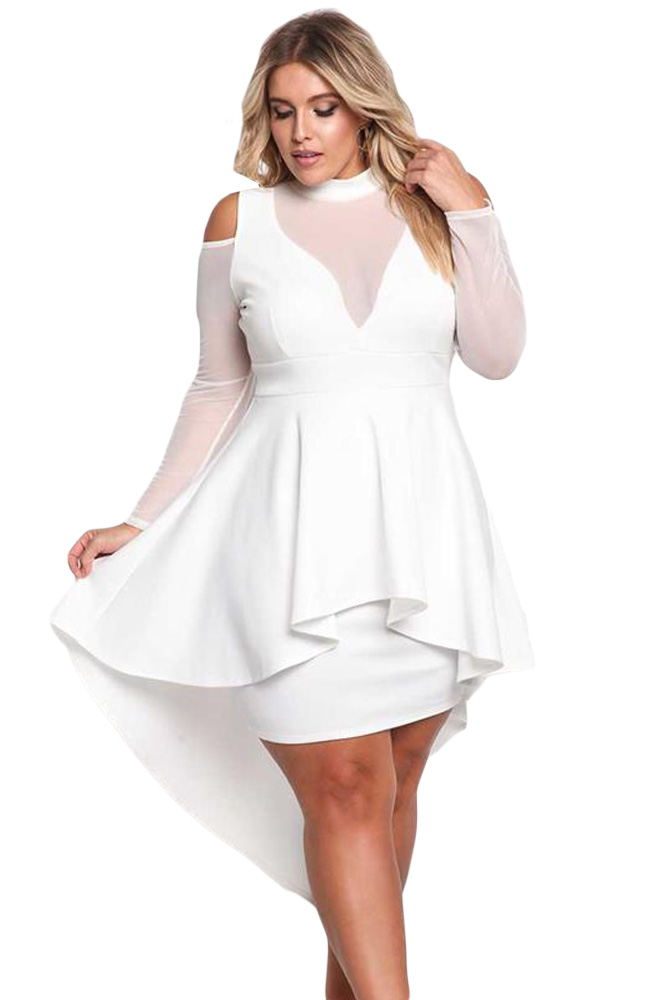 Bandage Vestido Long Sleeve turtleneck Fashion Women autumn White Plus Size XXL XXXL Mesh Trim Hi-Lo Peplum Bodycon Dress 61727