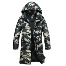 2016 X-Long down jacket Military camouflage Men's Winter Warm Jacket Hooded Casual Cotton-padded Jacket Parka Overcoat AMD407