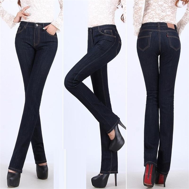 Free Shippng High Quality Promotion Women s Jeans Mid waist Elastic Black blue straight pants plus