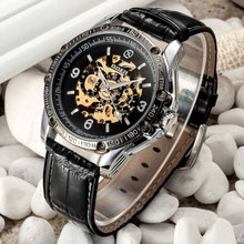 цена на Brand Name  Men Fashion Casual Mechanical Watches Leather Band Automatic Self-wind Skeleton Wrist Watches For Men Reloj GOER