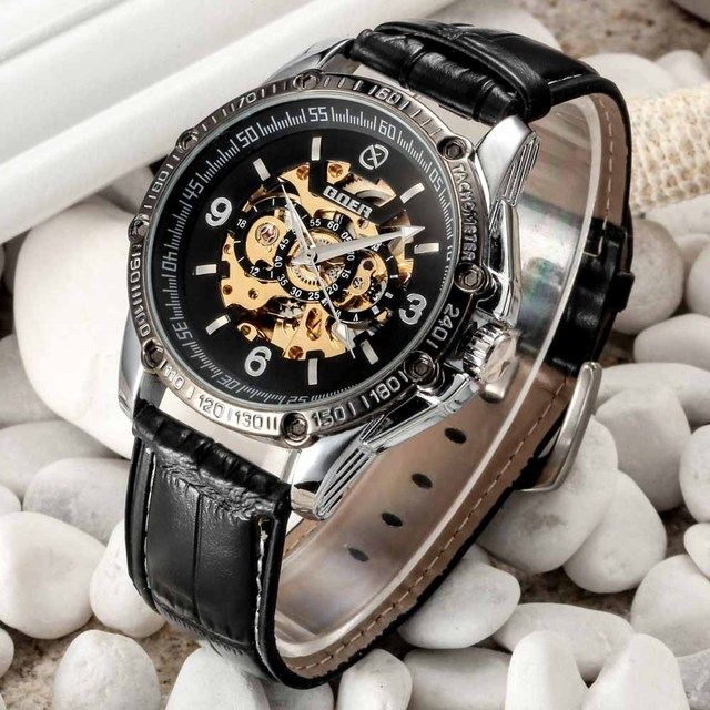 Us 18 97 42 Off Brand Name Men Fashion Casual Mechanical Watches Leather Band Automatic Self Wind Skeleton Wrist Watches For Men Reloj Goer In