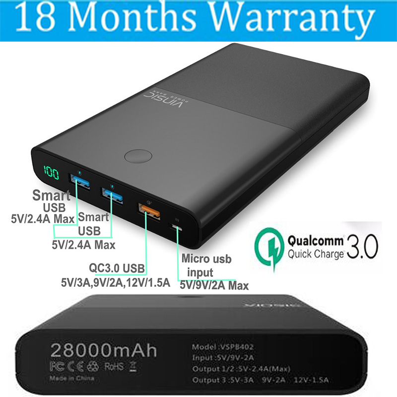 Vinsic Quick Charge 3 0 28000mah Power Bank QC3 0 5V 2 4A 3 Ports 9V