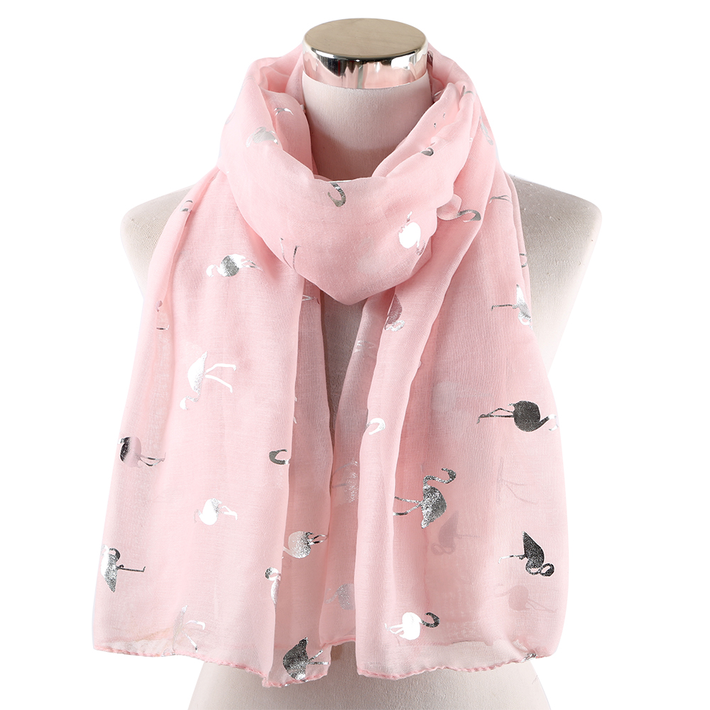 Winfox Fashion Foil Silver Bird Beach Shawl Scarves For Ladies Women Pink White Shiny Glitter Flamingo Scarf Female Stole