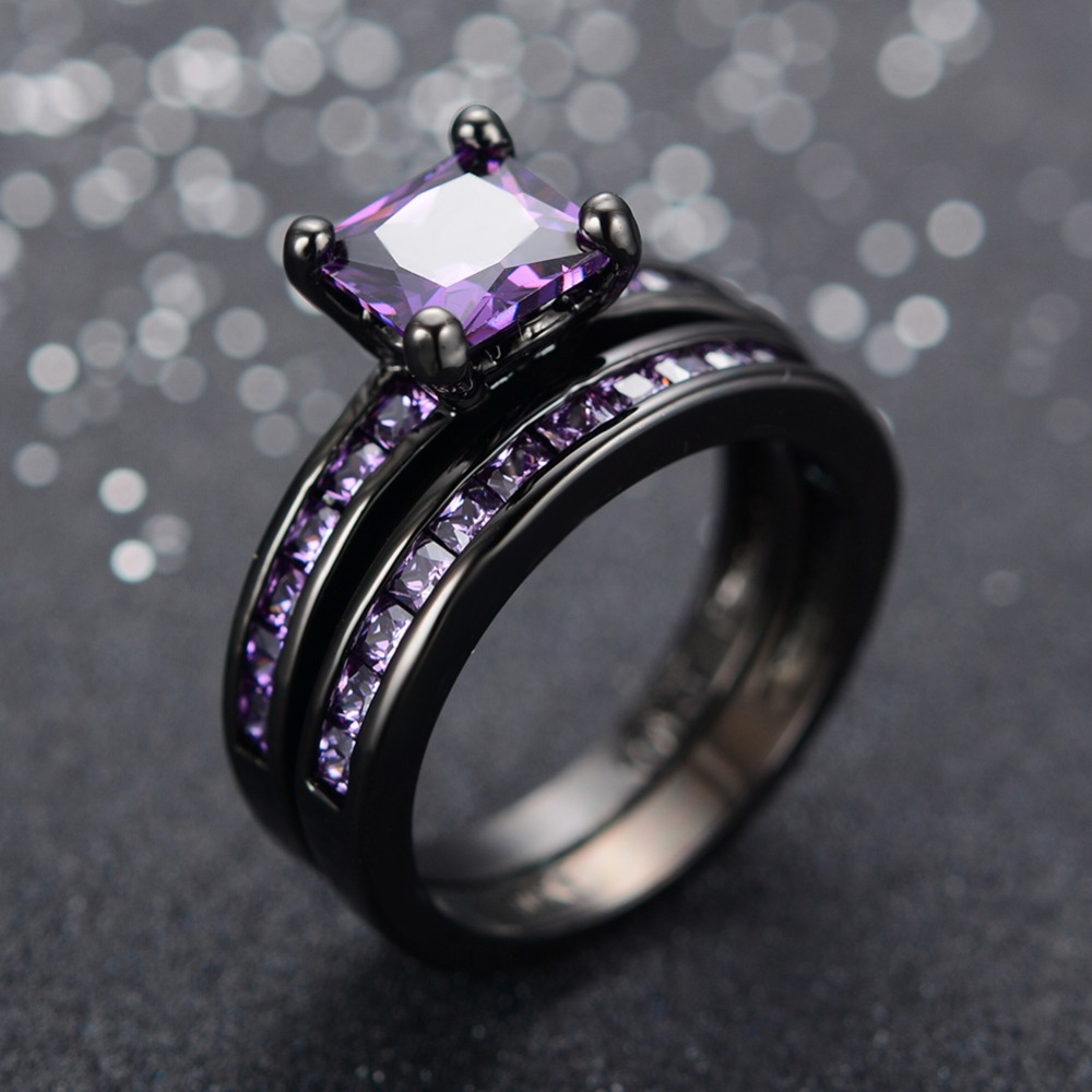 purple diamonds rings wedding engagement anglo stone