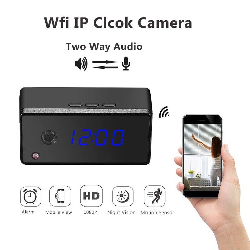 Wireless Table Clock Camera 1080P 720P Mini Wifi IP Clock Camera Alarming Setting IR Night Vision