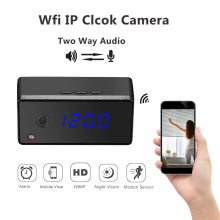 Wireless Table Clock Camera HD 720P Mini Wifi P2P IP Clock Camera Alarming Setting IR Night Vision Mini Camera DVR Camcorder