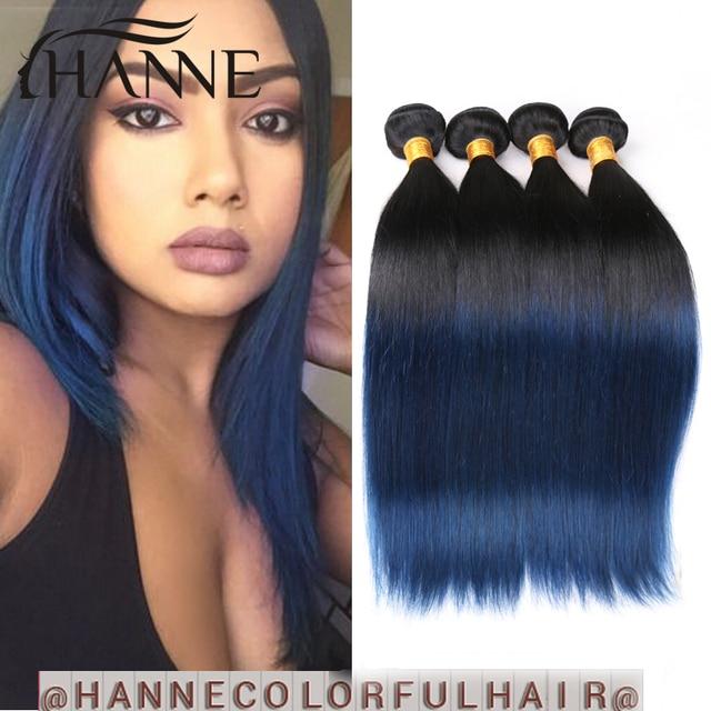 Brazilian Hair Straight Dark Roots Blue Human Hair 4 Bundles Remy