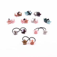 1Pair Cute pentagram hair rope women girls hair ring accessories for kids Elastic hair rubber bands Scrunchie headdress цена в Москве и Питере