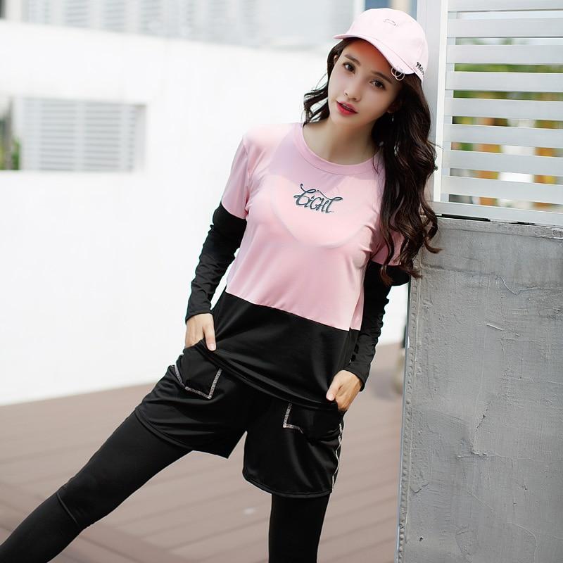 2018 las nuevas mujeres Yoga conjunto sólido deporte trajes de manga larga Fitness transpirable camiseta de Yoga deportes sujetador corto corriendo pantalones 4 piezas - 3