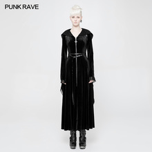PUNK RAVE Women Gothic Black Hooded Long Dress Halloween Witches Party Steampunk Vintage Witch